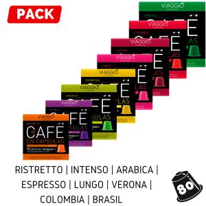 Pack 80 cápsulas de café Viaggio Espresso.