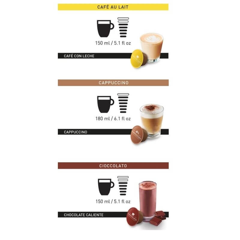 Pack Dolce Gusto 6 Cafe con Leche Capuchino Chocolate Intensidad