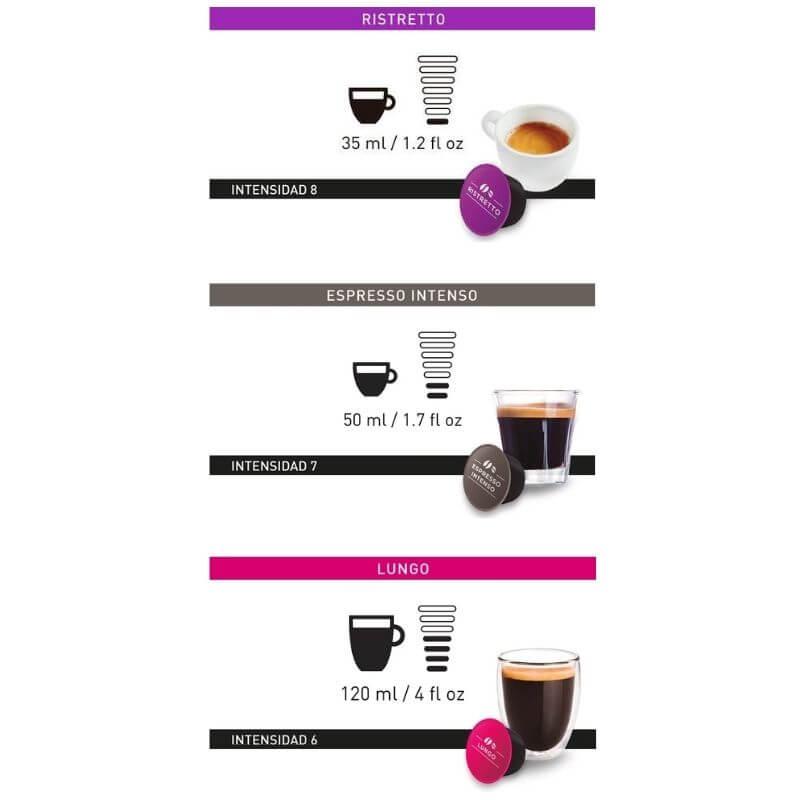 Pack Dolce Gusto 6 Ristretto Espresso Lungo Intensidad